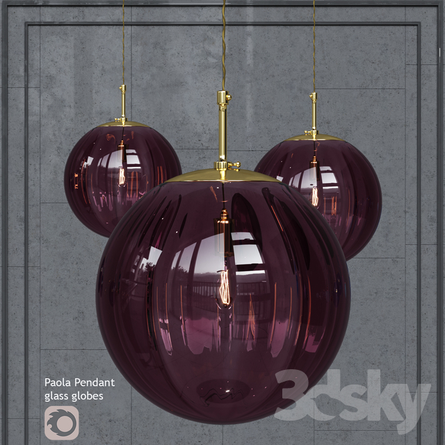 Suspended Hector Finch Paola Pendant Viola Gold Small lamp