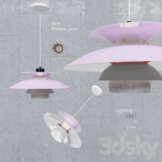 Pendant lamp Poul Henningsen PH5 Gray Pink Pendant Lamp