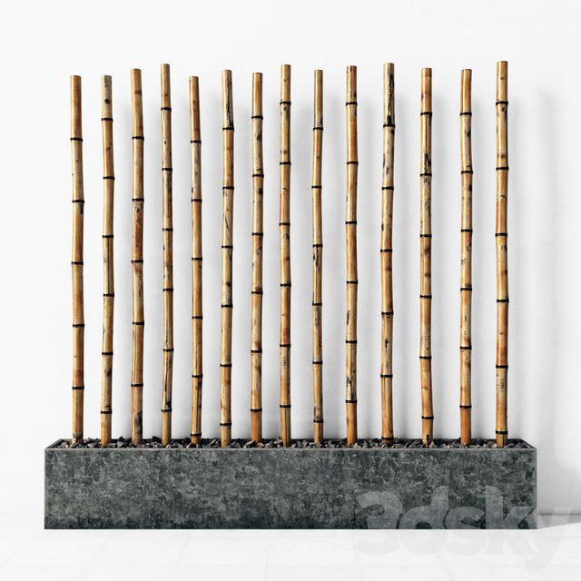 Bamboo decor fundament concrete