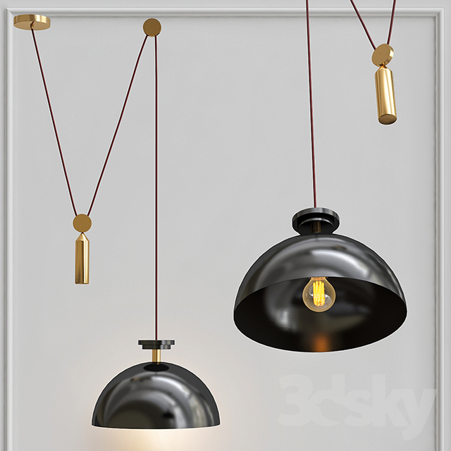 Pendant lamp Shape up Pendant Hemisphere Black designed by John Hogan
