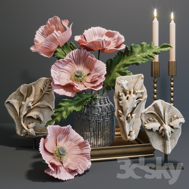 RH Acanthus leaves decorative set