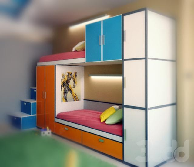 3d модели: кровати - детская двухярусная кровать со шкафами..