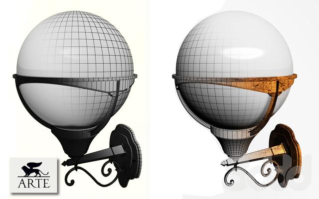 3d модели: <b>Уличное</b> освещение - <b>ARTE</b> Lamp A1491AL-1BK ...