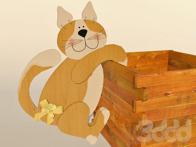 Деревянная фигурка - кот альпинист