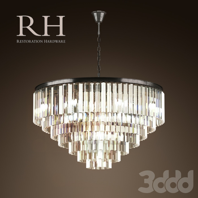 RH/ 1920S ODEON GLASS FRINGE 7-RING CHANDELIER IRON