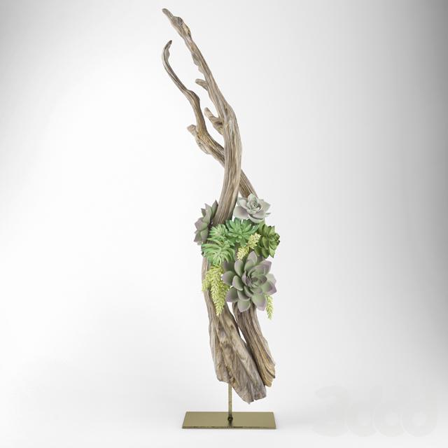 Подарок феи, букет из срезанных цветов с корягой