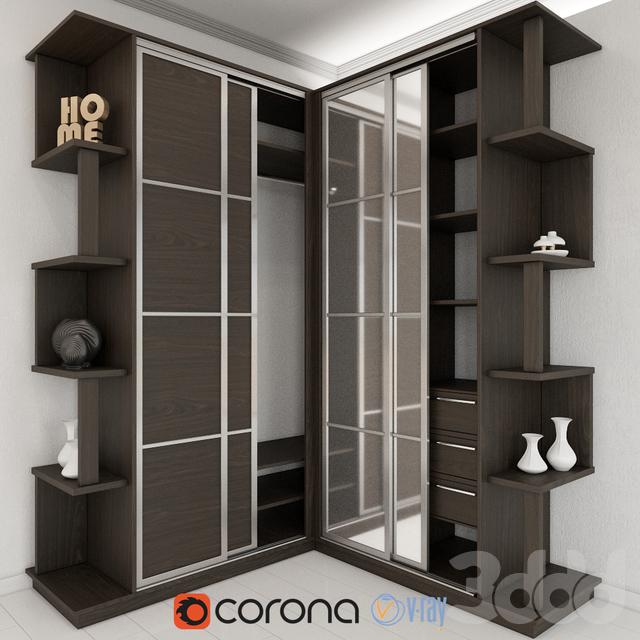3d модели: шкафы - угловой шкаф купе.