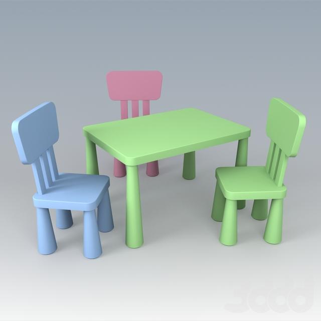 3d модели столы и стулья детская мебель Ikea серии маммут