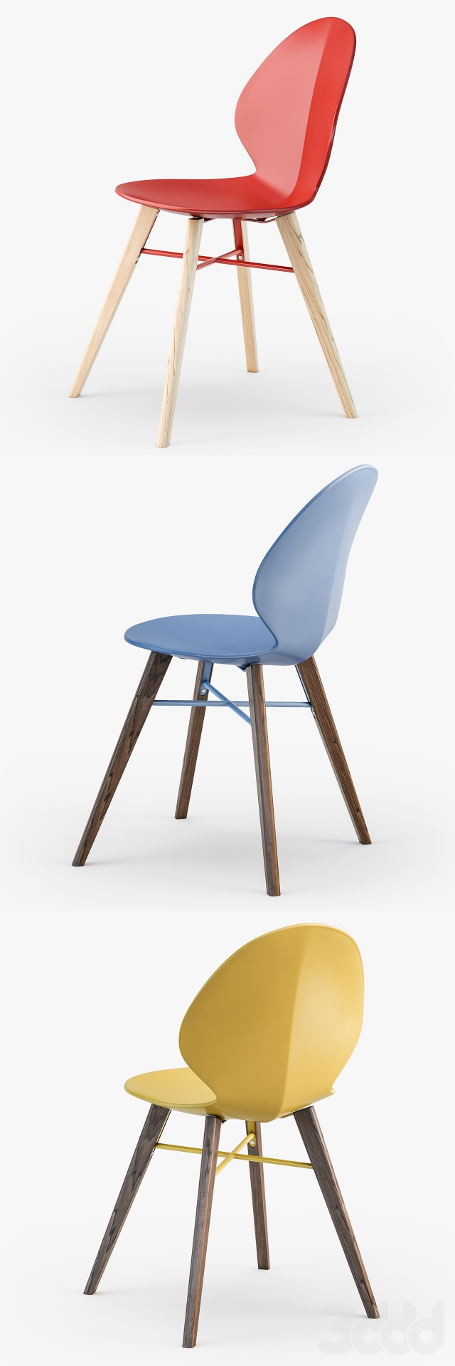 3d calligaris basil w chair for Calligaris basil w