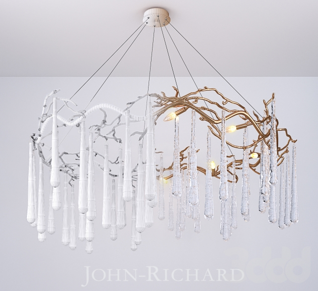 John Richard Brass And Glass Teardrop Eight Light Chandelier 3dsmax 2017 Fbx Corona