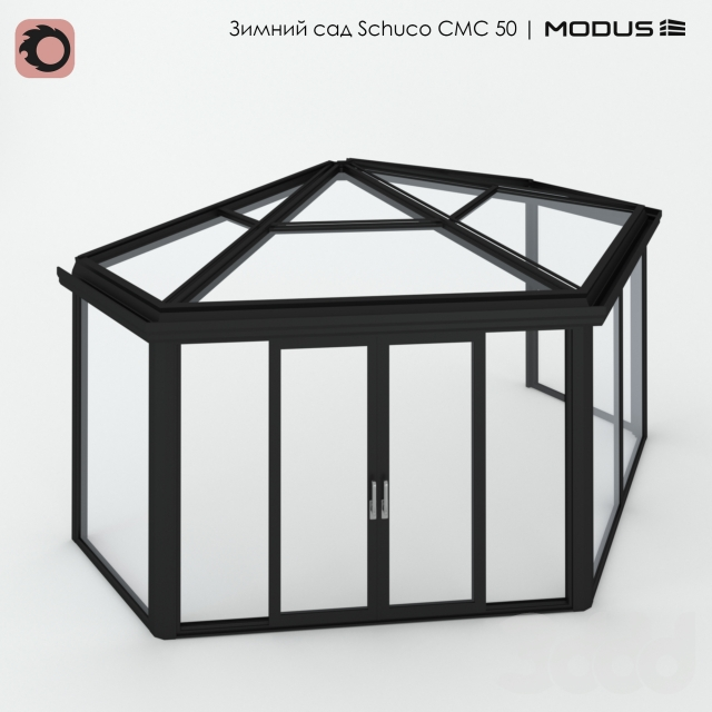 Зимний сад (№ 15) CMC 50 MODUS. Сегментный, приставной к фасаду, с четырехскатный
