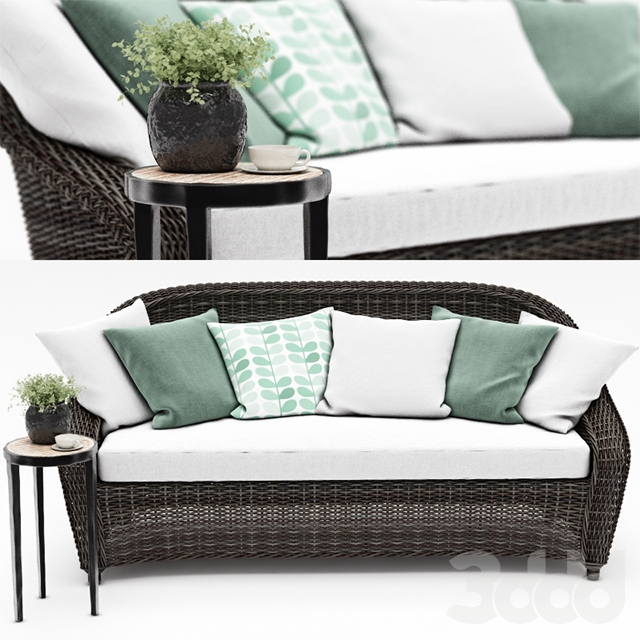 TORREY ALL-WEATHER WICKER ROLL-ARM SOFA от Pottery barn