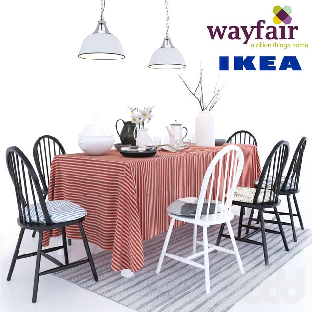 6 cтульев Geraldine Westminster с подушками Ikea стол Ingo