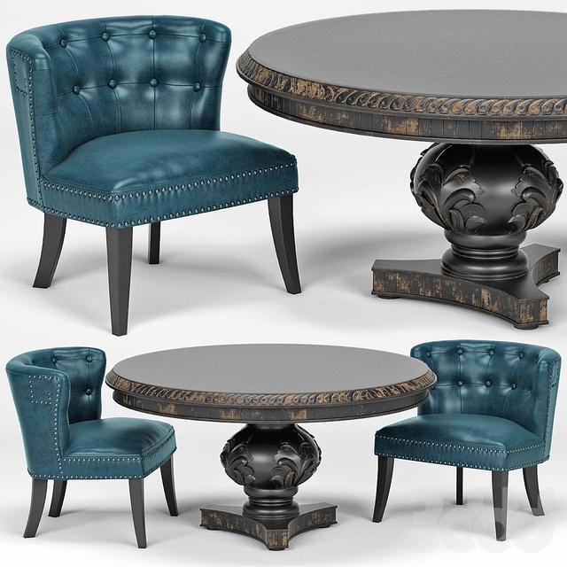 Lone Saphire Barrel Chair, San Telmo Dining Table