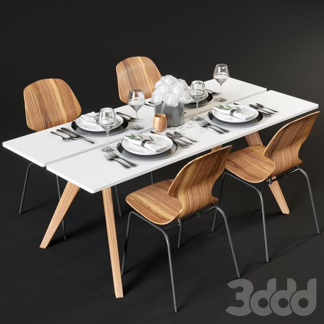 Обеденный стол и стулья BoConcept Adelaide и Florence