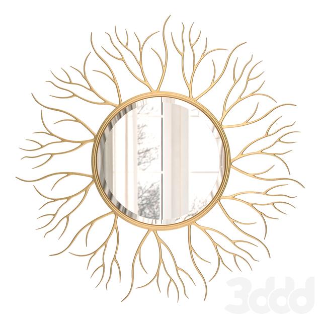 Large Round Golden Twig Mirror 110 cm