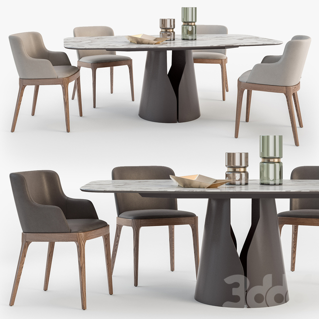 Cattelan Italia Giano table Magda chair set