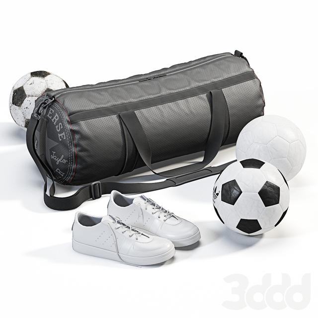 Спортивная сумка с кроссовками и мячами