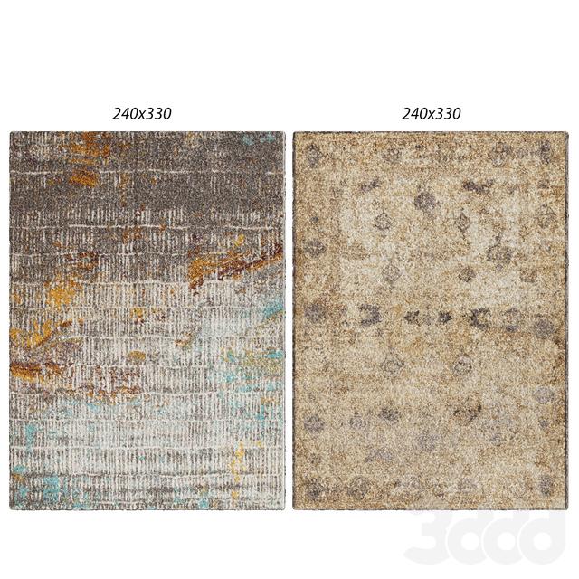 Temple and webster:Corina Grey, Gold & Blue Durable Modern Rug, Aisha Vintage Ziegler Rug Grey