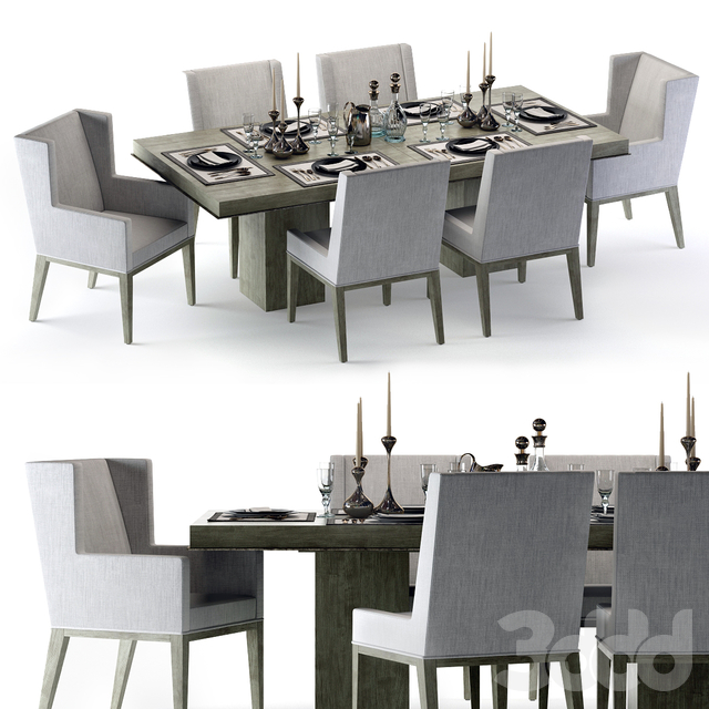 Bernhardt Linea Dining Set Greige
