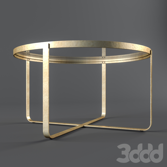 Round Glass and Brass Coffee Table