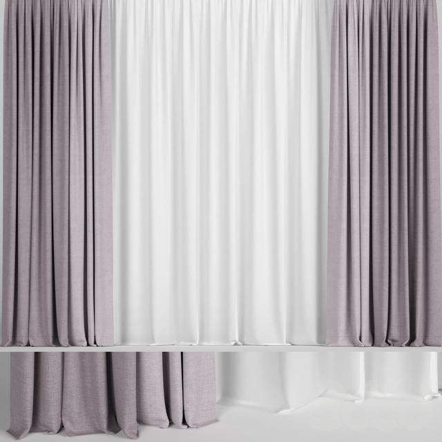 Розовые шторы в двух цветах с тюлем.
