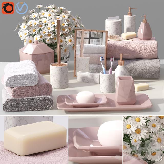 West elm Faceted Porcelain Bath Set