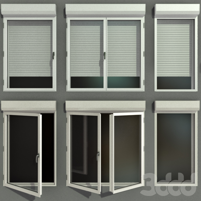 Распашные витражные окна с рольставни