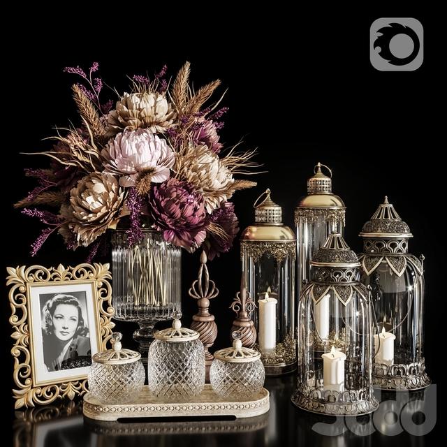 DECORATIVE SET 20 Dried flower antique lantern.