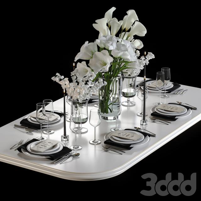 Сервиз для стола с букетами цветов