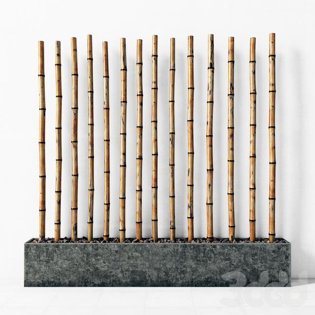 Декор из бамбука в фундаменте / Bamboo decor fundament concrete
