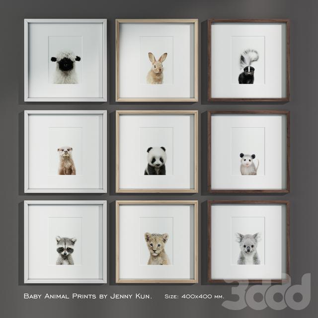 Baby Animal Prints by Jenny Kun. Size: 400x400mm.