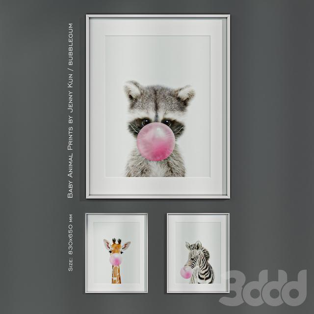 Baby Animal Prints by Jenny Kun / Bubblegum. Size: 830x650mm.
