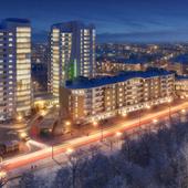 Жилой комплекс зимним вечером