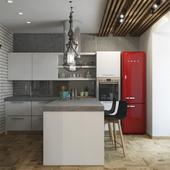Современная кухня-гостиная с элементами стиля Loft