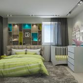 Спальня для молодой пары с малышом