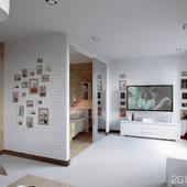 """Квартира-студия в современном стиле """"White bricks"""""""