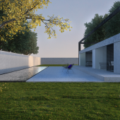 Minimalism in the draft Frame of a private house
