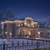 Реконструкция фасадов дома в классическом стиле.