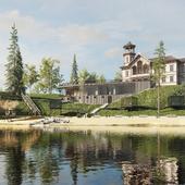 Визуализация спа комплекса и реставрации старинной усадьбы в Карелии