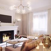 Визуализация гостиной в стиле эклектика