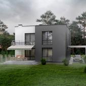 Exterior visualization of modern cottage