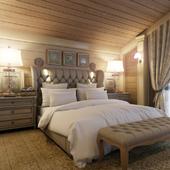 Спальня в доме из клееного бруса