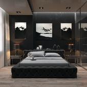 Дизайн интерьера спальни в черном цвете