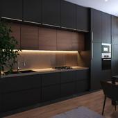 Black appartment & black kitchen