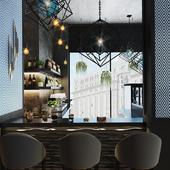 Ресторан, 2й этаж, зона бара и открытая кухня