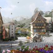 Австрийский городок с Альпами