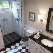Дизайн ванной комнаты в небольшом гостевом домике.