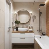 Дизайн и 3д визуализация ванной комнаты. Россия, г.Москва.