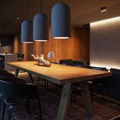 Concrete-wooden interior evening visualization